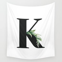 Letter K Initial Floral Monogram Black And White Poster Wall Tapestry