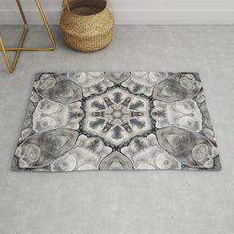 Black and White Neutral Kaleidoscope Art Print Rug