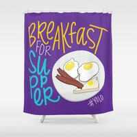 yolo Shower Curtains featuring YOLO Breakfast by Chelsea Herrick