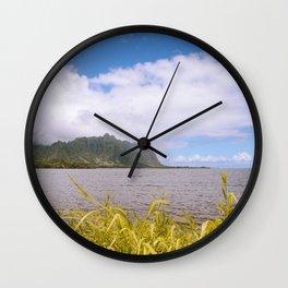 Kualoa Waiahole Beach Park Kaneohe Bay Oahu island Hawaii | Sea Nature Ocean Landscape Travel Photography Wall Clock