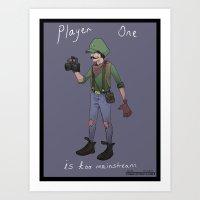 luigi Art Prints featuring Hipster Luigi by Idrawcartoons