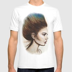 Ombre Hair (Mirror) MEDIUM White Mens Fitted Tee