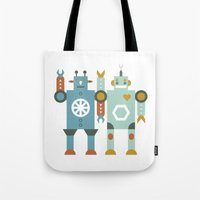 robots Tote Bags featuring robots by Mr. Morris can Meow!