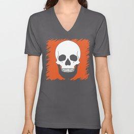 Halloween Orange Skull Design Unisex V-Neck