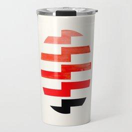 Minimalist Mid Century Circle Frame Vermillion Red Zig Zag Colorful Lightning Bolt Geometric Pattern Travel Mug