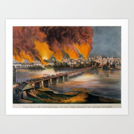 The Fall of Richmond, Virginia on the Night of April 2nd, 1865 , Currier & Ives (American, active Ne Art Print