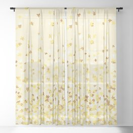 Floating Confetti - Yellow and Gold Sheer Curtain
