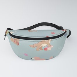 dogs and cats print-grey blue Fanny Pack