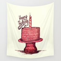 happy birthday Wall Tapestries featuring Happy Birthday by mer.dsk