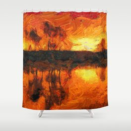 Fantastic sunset in impressionist lake Shower Curtain