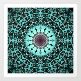 Bright Teal Black Bohemian Mandala Art Print