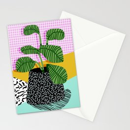 Decent - memphis retro neon throwback illustration pop art houseplant socal urban kids trendy art Stationery Cards