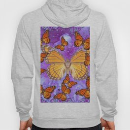 Orange Mariposas (Monarch Butterflies) on Lilac Color clouds Hoody