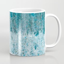 Tiny Forest // Snow Covered Evergreen Trees Spring Snow in the Mountains Cool Moody Photograph Coffee Mug