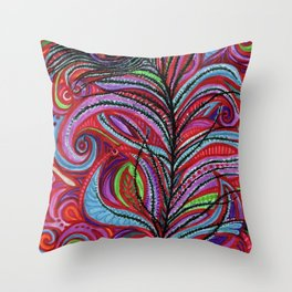 A Bright Feather Throw Pillow
