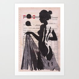Emma - ink drawing over vintage commercial invoice Art Print