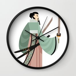unarmored samurai with katana blades Wall Clock