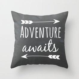 Adventure Awaits Chalkboard Throw Pillow