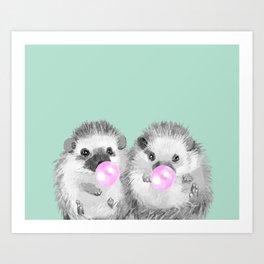 Playful Twins Hedgehog Art Print