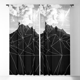 Geometric Mountains Black and White Blackout Curtain