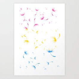 Dandelion Seeds Pansexual Pride (white background) Art Print