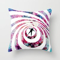 vertigo Throw Pillows featuring VERTIGO by Tia Hank
