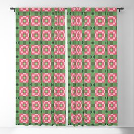 Pixelated Squares - Green and red pattern Blackout Curtain