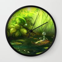 neil gaiman Wall Clocks featuring Solitude through the leaves, by Neil Price by Neil Price