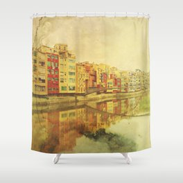 The river that reflects the city Shower Curtain