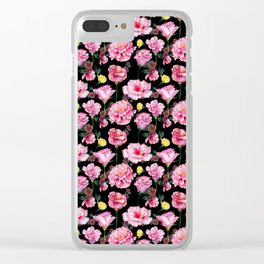 Modern pink green yellow watercolor roses pattern Clear iPhone Case