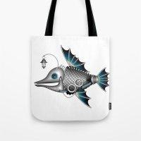 steam punk Tote Bags featuring steam punk fish by Elena Trupak