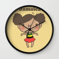 jamaica Wall Clocks featuring Jamaica by Cat in the Box
