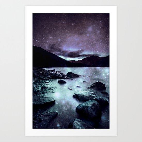 Magical Mountain Lake Aqua Lavender Art Print