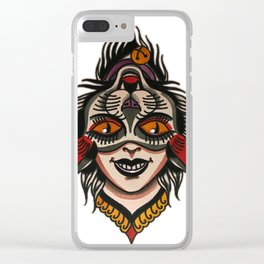 flip cat Clear iPhone Case