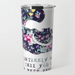 Alice floral designs - Cheshire cat entirely bonkers Travel Mug