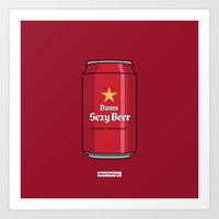 Art Print featuring SEXY BEER by MEET THE PUGS