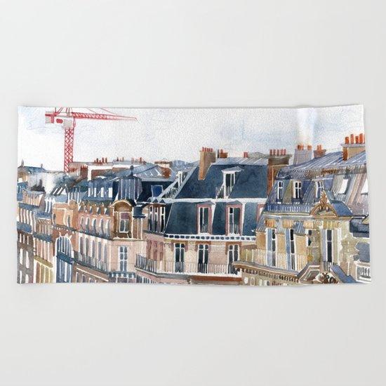 Roofs of Paris Beach Towel