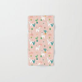 Summer Llamas on Pink Hand & Bath Towel