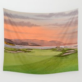 Pebble Beach Golf Course Hole 17 Wall Tapestry