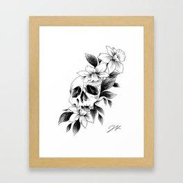 Skull Daffodils Framed Art Print