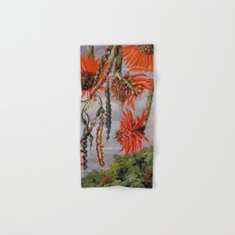 Flowering Red Coral Tree Tropical Flowers still life painting Hand & Bath Towel