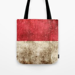 Vintage Aged and Scratched Indonesian Flag Tote Bag