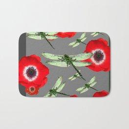 EMERALD GREEN DRAGONFLIES & RED POPPY FLOWERS GREY ART Bath Mat