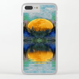 HARVEST MOON WILDERNESS LAKE LANDSCAPE Clear iPhone Case