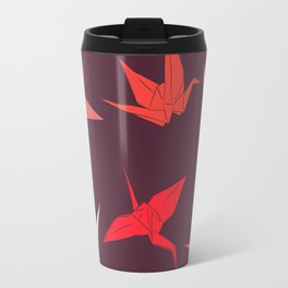 Japanese Origami paper cranes sketch, symbol of happiness, luck and longevity Travel Mug