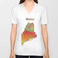 maine V-neck T-shirts featuring Maine Map by Roger Wedegis