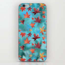 Dead Leaves over Cyan iPhone Skin
