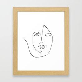 Abstract face One Line Art Framed Art Print