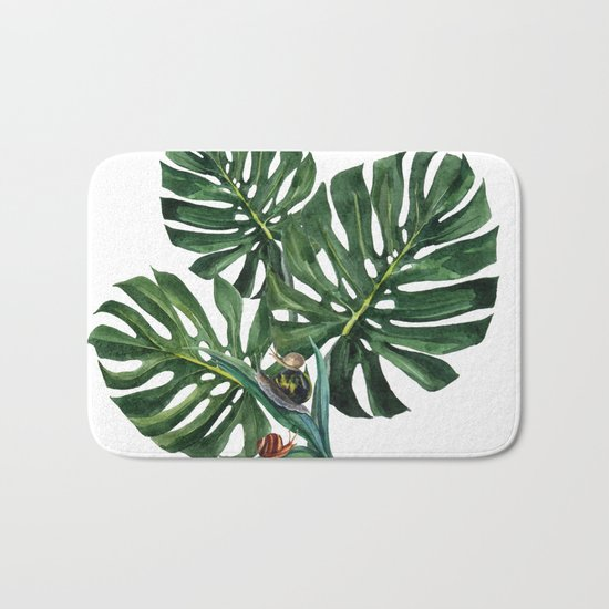 Monstera leaf with snails Bath Mat