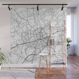 Essen Map, Germany - Black and White Wall Mural